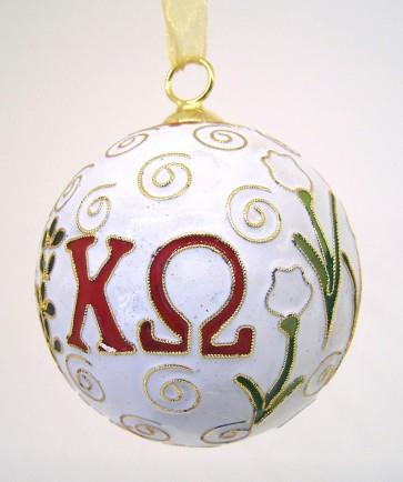 ChiO Round Wt Ornament
