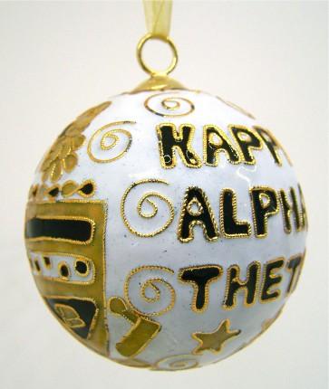 Theta Round Wt Ornament