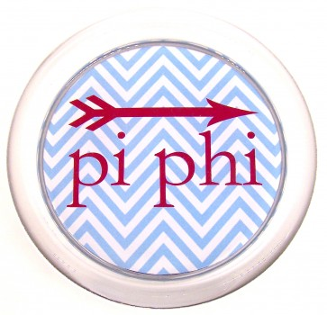 PiPhi Decoupage Coaster - Blue Chevron w/ Arrow