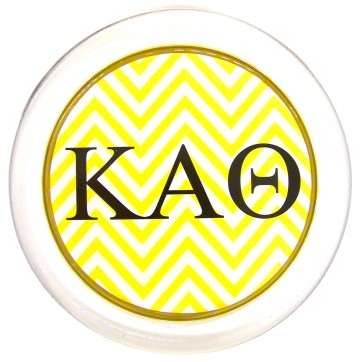Theta Decoupage Coaster - Yellow Chevron