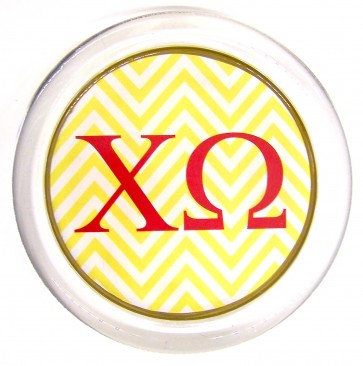 ChiO Decoupage Jewelry Dish - Yellow Chevron