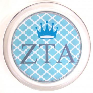 """ZTA Decoupage Coaster - Turquoise Trellis """"ZTA"""" w/ Crown"""