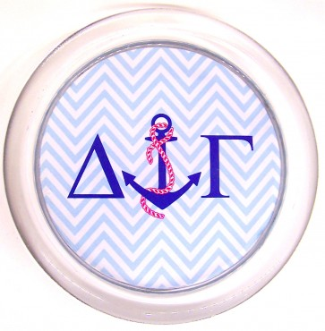 DG Decoupage Coaster - Blue Chevron w/ Anchor