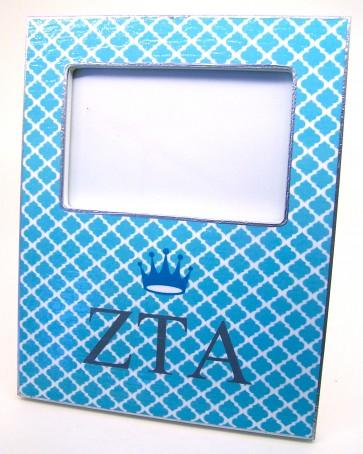 ZTA Decoupage Picture Frame - Turquoise Trellis w/ Crown