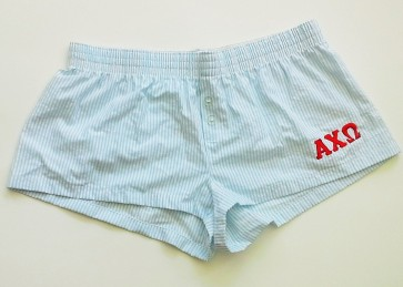 Embroidered Seersucker Sorority Boxer Shorts - Alpha Chi Omega