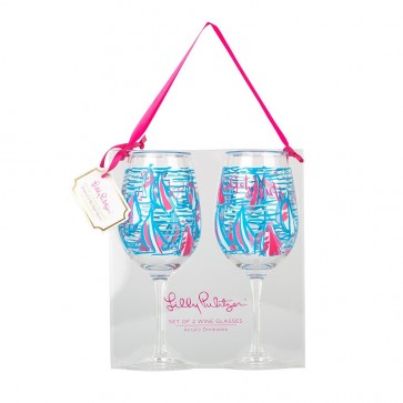 Lilly Pulitzer Acrylic Wine Glasses- Red Right Return