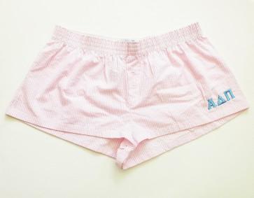 Embroidered Seersucker Sorority Boxer Shorts - Alpha Delta Pi