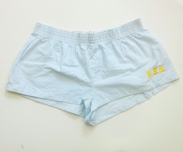 Embroidered Seersucker Sorority Boxer Shorts - Alpha Xi Delta