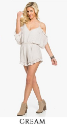 Cream Cold Shoulder Romper