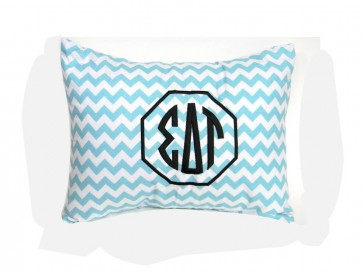 Sigma Delta Tau Monogram Chevron Travel Pillow
