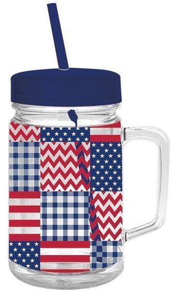 Patriotic Acrylic Mason Jar