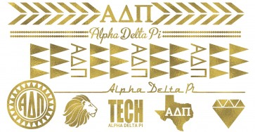 ADPi TT Metallic Gold Temporary Tattoos
