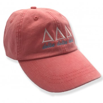 Embroidered Coral Sorority Letter Hat