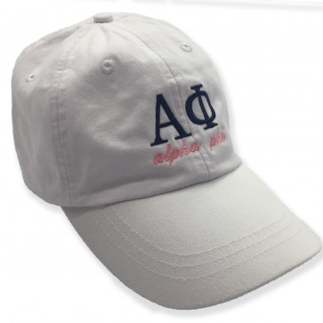 Embroidered White Sorority Letter Hat PREORDER