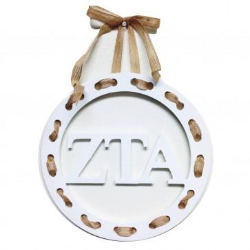 Zeta Wreath with Burlap Ribbon