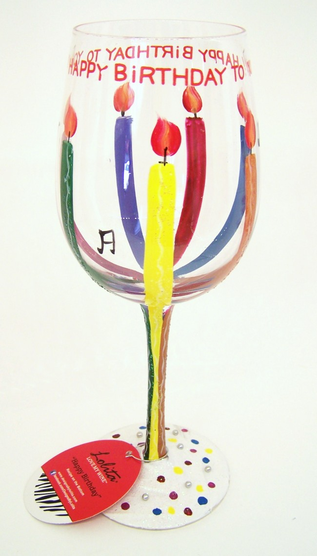 Hand Painted Happy Birthday Wine Glass By Lolita