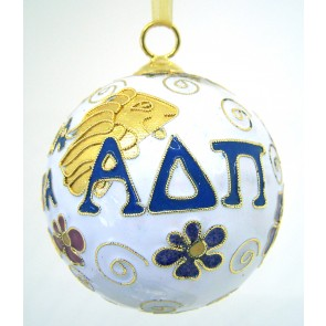 ADPi Round Wt Ornament