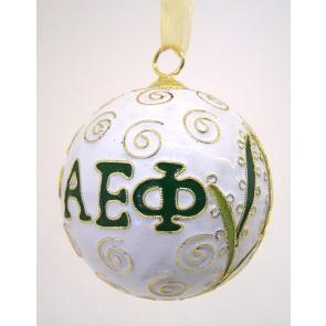 AEPhi Round Wt Ornament