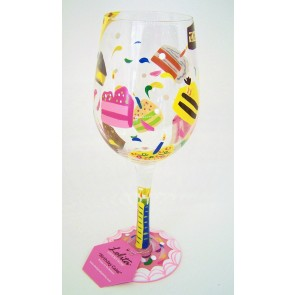 birthday cake wine glass