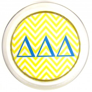DDD Decoupage Coaster - Yellow Chevron, Blue Letters