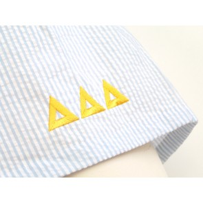 Embroidered Seersucker Sorority Boxer Shorts - Tri Delta