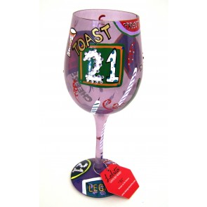 21 birthday wine glass
