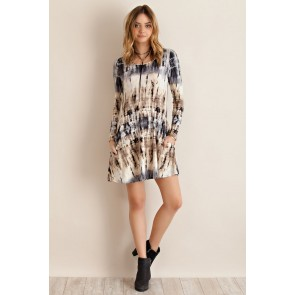 Taupe & Grey Tie Dye Dress