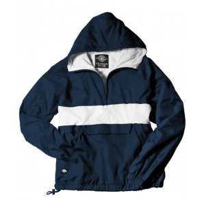 Embroidered Rugby Striped Rain Jacket