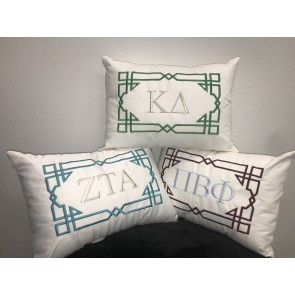 White Geo Design Pillow with Sorority Letters