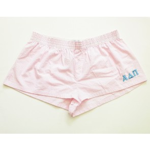 Embroidered Seersucker Sorority Boxer Shorts - Alpha Delta Pi