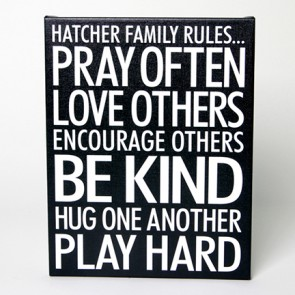 Customizable Canvas Print - Family Rules