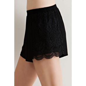 Black Crochet Accent Shorts