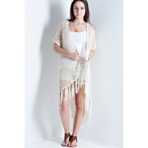Woven Cardigan with Fringe