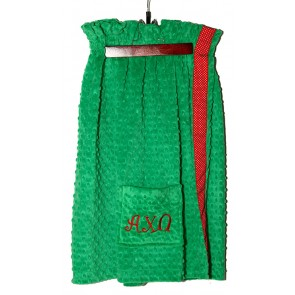AChiO Plush Minky Dot Towel Wrap - Green/Red