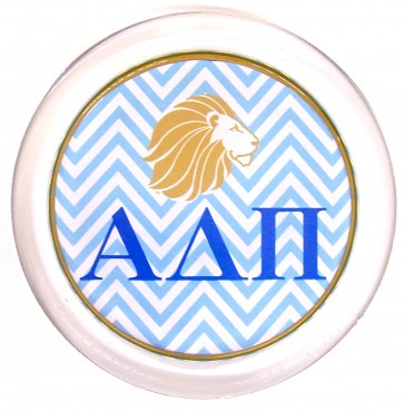ADPi Decoupage Coaster - Blue Chevron w/ Lion