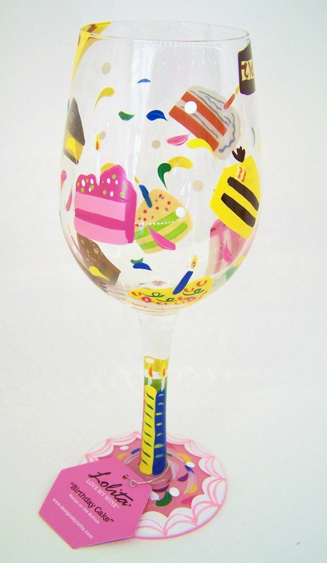 Birthday Cake Wine Glass Zoom
