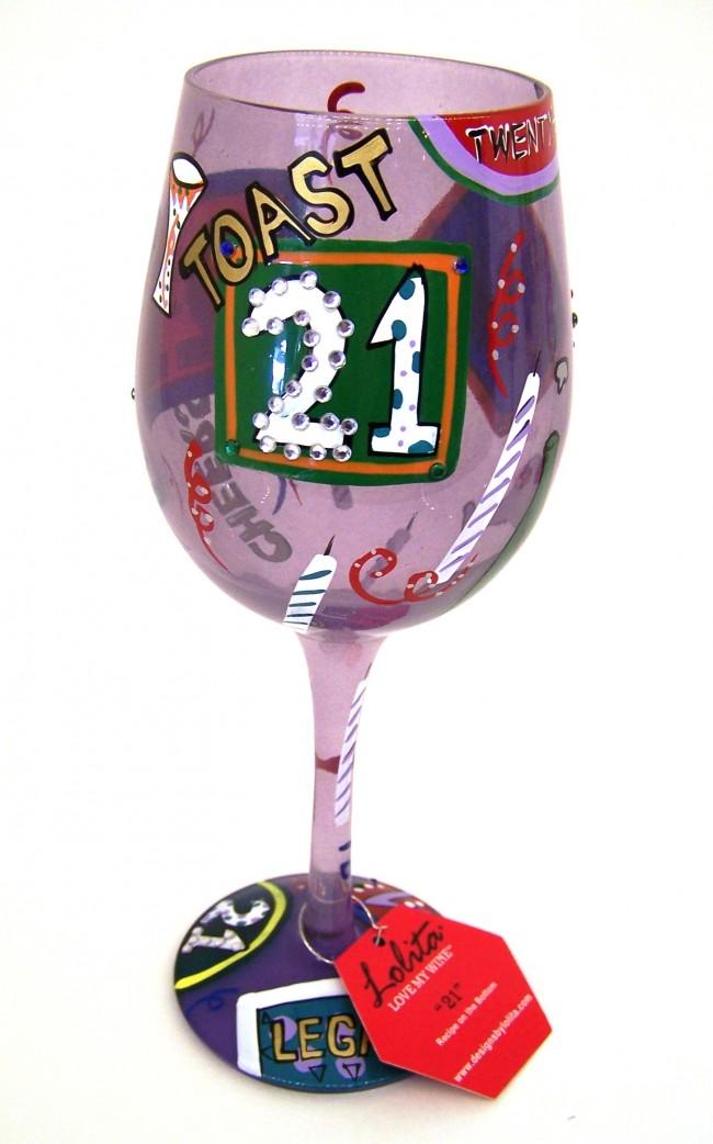 21 Birthday Wine Glass