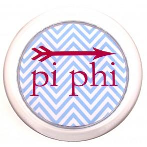 PiPhi Decoupage Coaster - Blue Chevron w/ Arrow