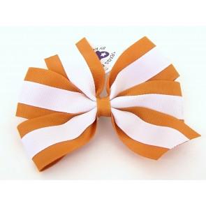Striped Orange/White Classic Bow