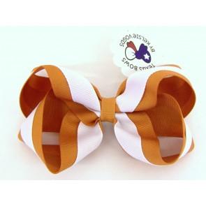 Striped Orange/White Fancy Bow