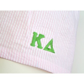 Embroidered Seersucker Sorority Boxer Shorts - Kappa Delta