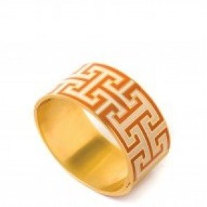 Spartina 449 Greek Key Hinged Bangle - Orange