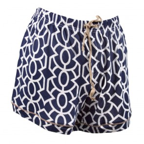 Trellis Sleep Shorts - Navy/Taupe