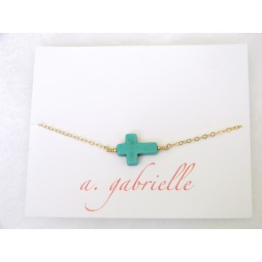 Turquoise Cross Bracelet by A. Gabrielle Designs