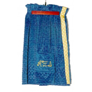 AXiD Plush Minky Dot Towel Wrap - Blue/Gold