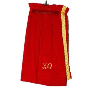 ChiO Plush Minky Dot Towel Wrap - Red/Yellow