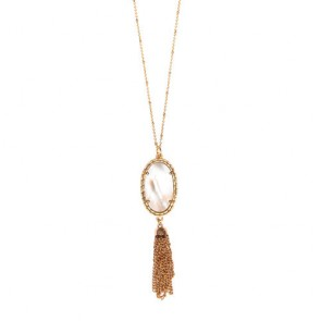 Tassel Necklace Mother of Pearl