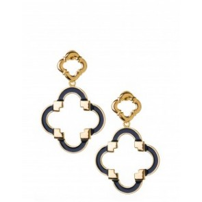 Spartina 449 Quatrefoil Earrings - Navy